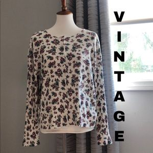 Vintage 90's textured ribbed floral long sleeve